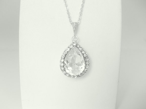 Art deco crystal wedding necklace white teardrop designed swarovski AAA crystals and cz stone detailed pendant bail bridal  necklace