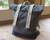Waxed Canvas Backpack - Weather Resistant - Grey / Navy - Roll Top Rucksack