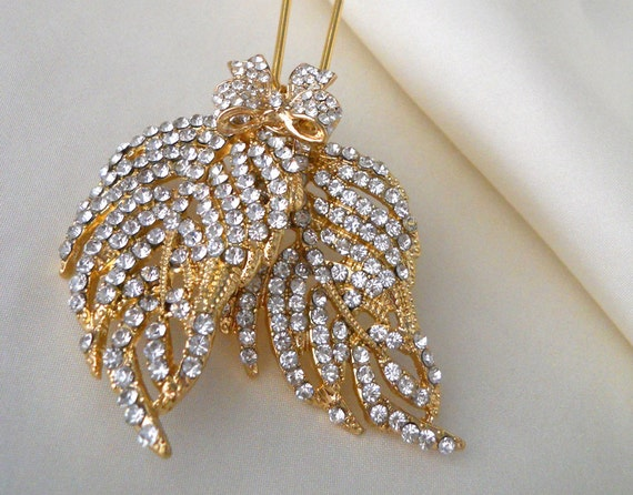 Crystal and gold leaf hairpin - Autumn wedding