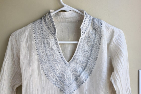 Ornate Silver and White Tunic