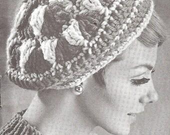 Vintage Crochet  Pattern, Ladies Crochet Beret Hat, Cap   crochet   PDF  pattern