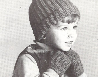 Vintage Pattern, Crocheted  Toque and Mitts Size 2-4 years Child Pattern   PDF pattern