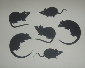 Halloween silhouettes, rats, scary decorations, invitations, favor bags