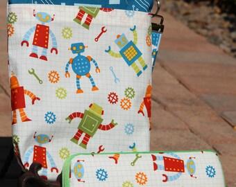Travel Diaper Changing Set  (Boy) - Wet Bag & Wipes Case  -  Robot: Red, Blue, Green, White