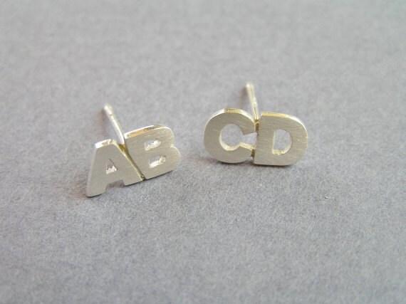 Initial Earrings Two Letters Silver Stud Earrings
