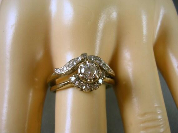 1930s Antique Diamond Wedding Set .50Ctw Size 8 25 White Gold 14K 3.9gm