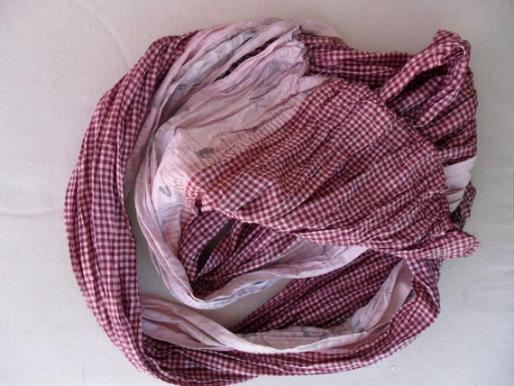 Recycled Silk Sari Scarf,  FREE SHIPPING, crinkle finish, pink and maroon