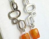 Large Geometric Orange Earrings - Dangle Earrings