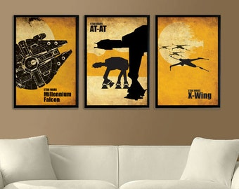 Star Wars Millennium Falcon, X-Wing and ATAT Vintage Poster Set