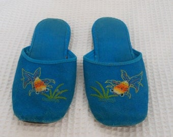 Slippers shoes Dainty Blue Goldfish Vintage Chinese