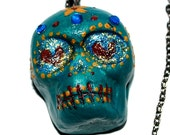 Day of the dead skull clay heart colorful calavera flowers pendant with chain