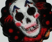 clay skull  halloween pendant clown macabre creepy with gun metal chain