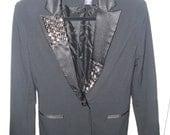 SALE Hand Studded Black Blazer Tuxedo Suit Jacket Women's Clothing Top Rocker Chic