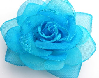 Hair Clip:  TURQUOISE Glitter Rose Alligator Clip With Free Headband
