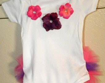 Baby Tutu Onesie with Sewn Flower Necklace - Pink and Purple - CUSTOMIZABLE