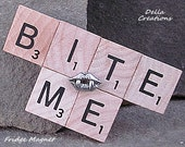 Scrabble Tile Refrigerator Magnet w/Pewter Charm  --  BITE ME