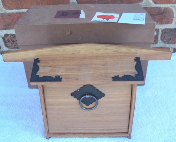 Vintage Teak Sewing Trinket Box Pagoda Shape Japan 1950s