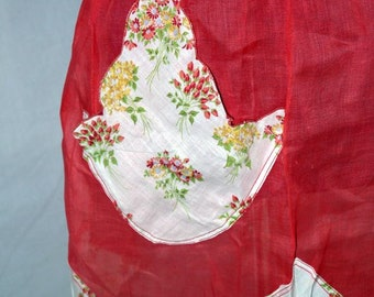 Vintage 50s Mid Century half apron / hankie pocket / Handkerchief scallop hem / coral organza / mad men housewife