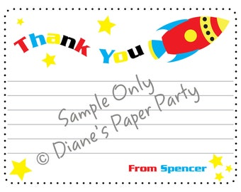 Rocket Ship Space Theme Birthday Thank You Card (DIY Printable file)