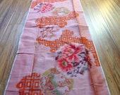 Kimono fabric ikat orange silk meisen