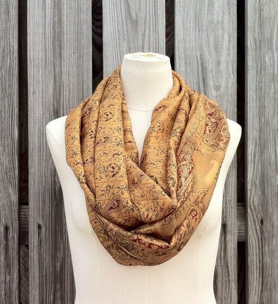 Infinity Scarf Beautiful Upcycled VINTAGE Silk Sari Circle Scarf in Autumn Warm Gold Mustard Paisley