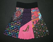 High Heels and Lipstick Flattering Hippie Skirt upcycled recycled t-shirt clothing for Women from TWINKLE