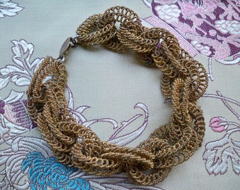 Vintage 1930s Old Gold-Tone Mesh Chainmail Link Bracelet