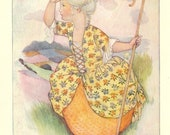 Vintage 1930's Children's Book Plate - 'Little Bo-Peep Has Lost Her Sheep'