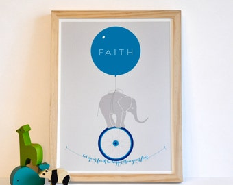 Let Your Faith Be Bigger Than Your Fear - Inspirational Elephant Monocycle Typography Art Print - 12x16 navy teal red children decor
