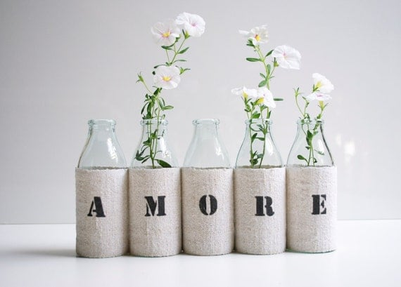 AMORE vase -  from 5 small recycled glass bottles and a grain sack cover
