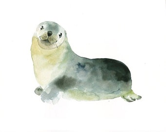 BABY SEAL 7x5inch-Art Print-animal Watercolor Print-Giclee Print