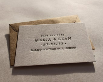 Save the Date Cards // Letterpress printed, A7 size - 'Maria' design