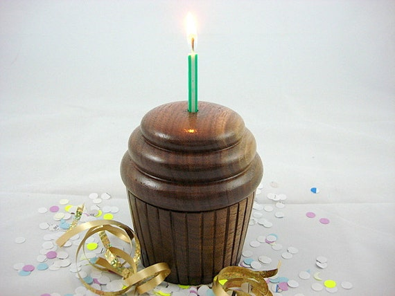Happy B'day Wooden Music Box Cupcake , Lathe Turned,