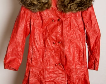 Red Leather Satin Lined Jacket with a Raccoon Fur Collar