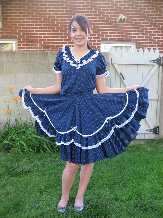 Vintage blue dress circle skirt and top