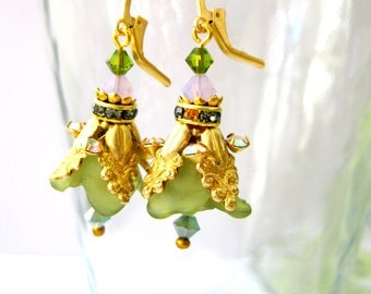Green and gold Flower earrings - Fairy Flowers Vintage green flower earrings - Dangle earring Floral Jewelry Gift under 50