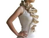 Ruffled Scarf in Glittered Beige - Ruffle Fall Winter Knit  Fashion - Women Teens Accessories - Neutral - Scarflette