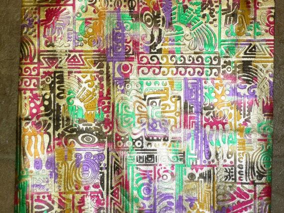 "CLOSEOUT 8""x10"" Metallic INCA print Gold multicolored print grain Cowhide Leather Hide 2.5-3 oz / 1-1.2 mm"