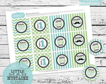 """Personalized Little Man 2"""" Party Circles PLUS Favor Tags"""
