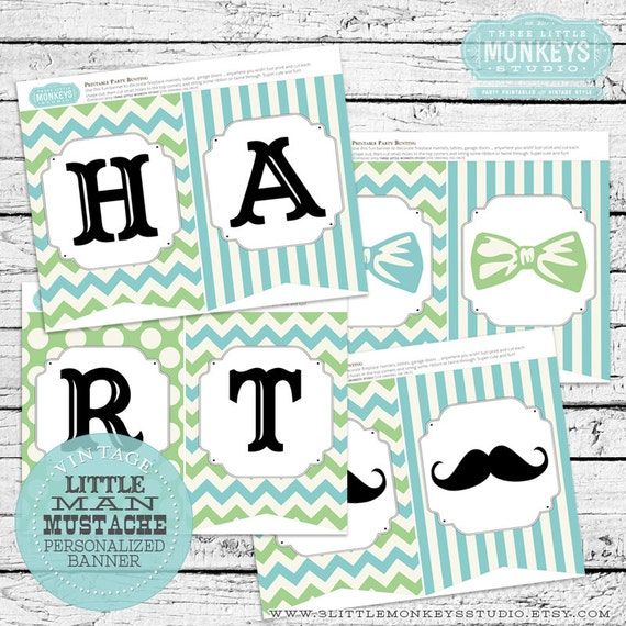personalized little man or little mister mustache bow tie baby shower
