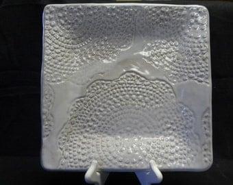 White Ceramic Platter, White Ceramic Dish, Lace Ceramic Platter, Lace Ceramic Dish, White Lace Dish, White Lace Platter, Lace Pottery