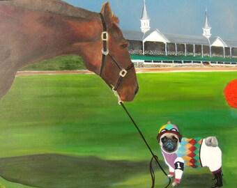 "Pug Art Print of an original oil painting / ""Riders Up"" / 8 x 10 / Dog art"