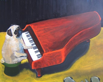 "Pug Art Print of an original oil painting / ""The Red Piano Tour"" / 8 x 10 / Dog Art"