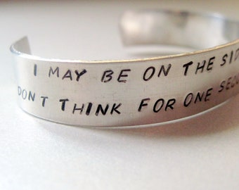 Sherlock  Inspired Bracelet - On The Side of the Angels - Hand Stamped Aluminum Cuff - customizable