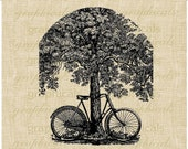 Bicycle image shade tree instant graphic download image for iron on fabric transfer paper burlap crafts decoupage tote bags pillows No. 212