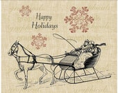 Christmas digital download image transfer Sleigh horse snowflakes winter for iron on fabric burlap papercraft tote bags pillows No. 288