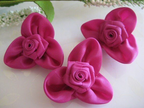 Medium Violet Red Fabric Roses Appliqués for Sewing, Headbands, Boutique Accessories  -  12 pieces, 1.5 Inches (40 mm)