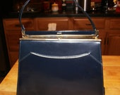 Vintage Purse 50s Kelly Style Handbag Navy Blue Trapezoidal Leather and Patent Leather Pocketbook