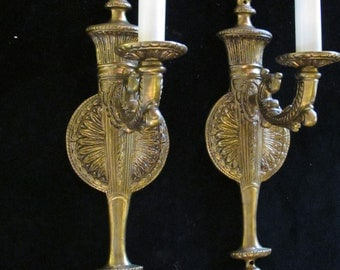 Pair of French solid bronze wall light sconces by Sergio Merlin