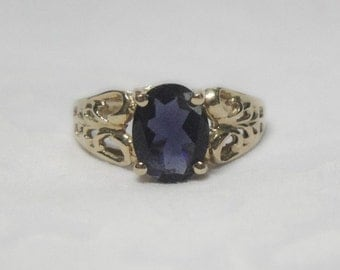 Iolite Ring - 14K Gold - Large Genuine Iolite Gem - Vintage